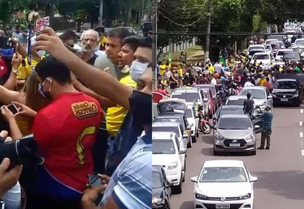Carreata terminou com aglomeração em frente ao Comando Militar da Amazônia, em Manaus. — Foto: Reprodução