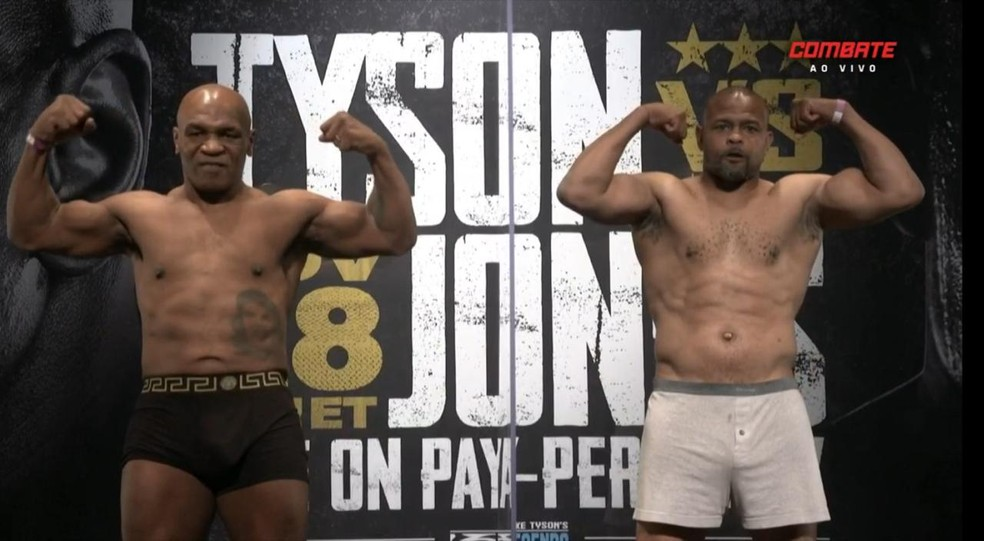 Mike Tyson e Roy Jones Jr. em pesagem — Foto: Reprodução