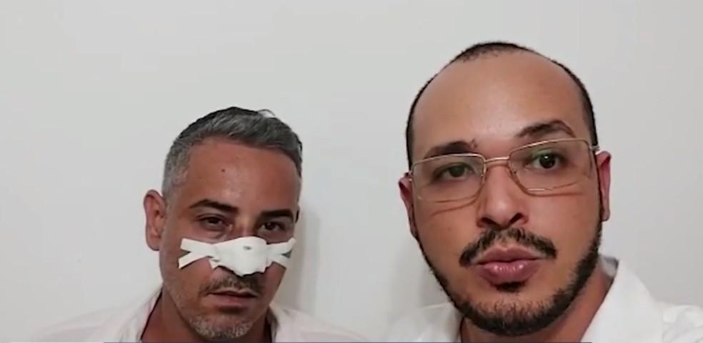 Vítima que teve nariz quebrado pelo empresário durante discussão em Maraú — Foto: Reprodução / TV Santa Cruz