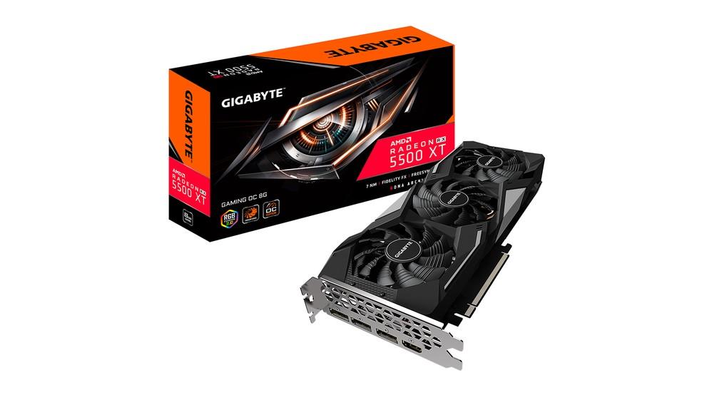 RX 5500 XT tem versões com 4 ou 8 GB de RAM e promete mais performance do que rival da Nvidia — Foto: Divulgação/Gigabyte