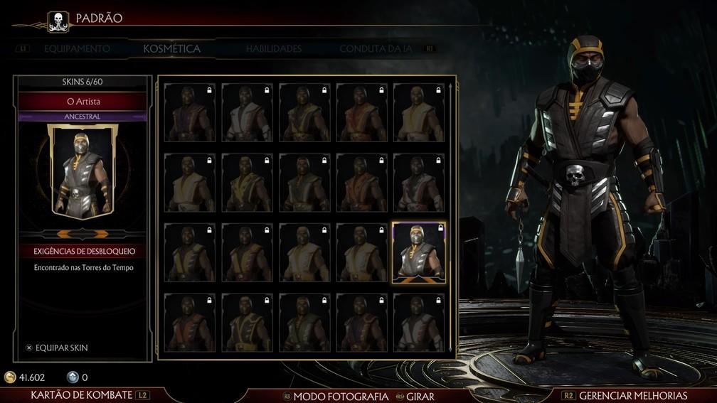 Skins de Scorpion em Mortal Kombat 11 — Foto: Reprodução / TechTudo