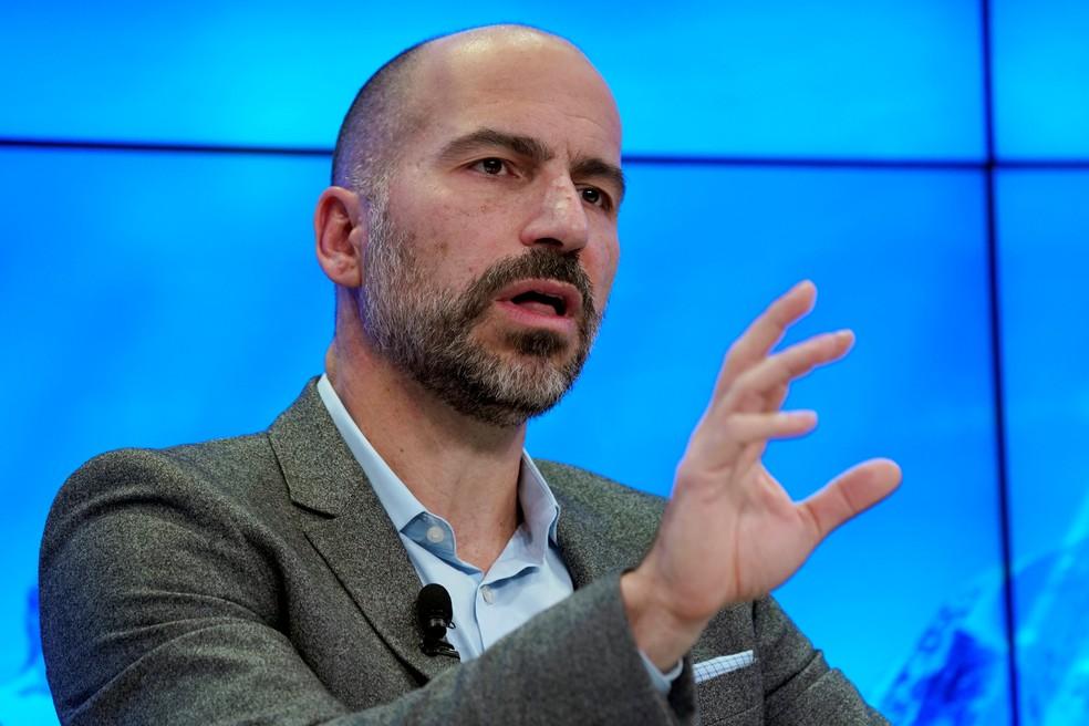 Dara Khosrowshahi, CEO da Uber, durante o Fórum Econômico Mundial. (Foto: Denis Balibouse/Reuters)