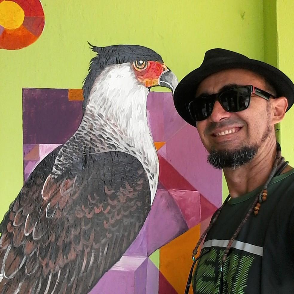 Diversidade dos animais da Caatinga é representada em murais pelo artista plástico — Foto: Miguel de Paula/Acervo Pessoal
