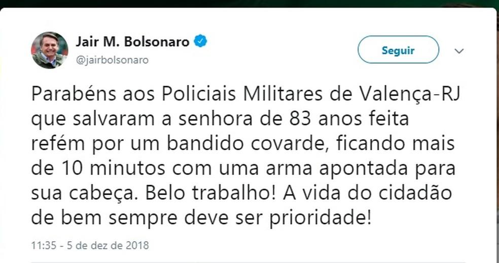 Presidente eleito Jair Bolsonaro parabeniza policiais de Valença — Foto: Redes Sociais