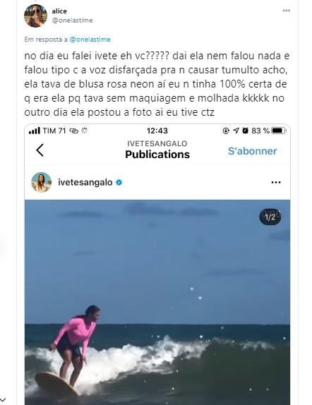 Alice diz que Ivete Sangalo salvou seu sobrinho de afogamento (Foto: Reprodução/Twitter)