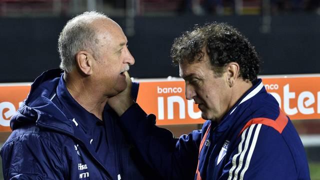 Felipão e Cuca se cumprimentam antes de São Paulo x Palmeiras
