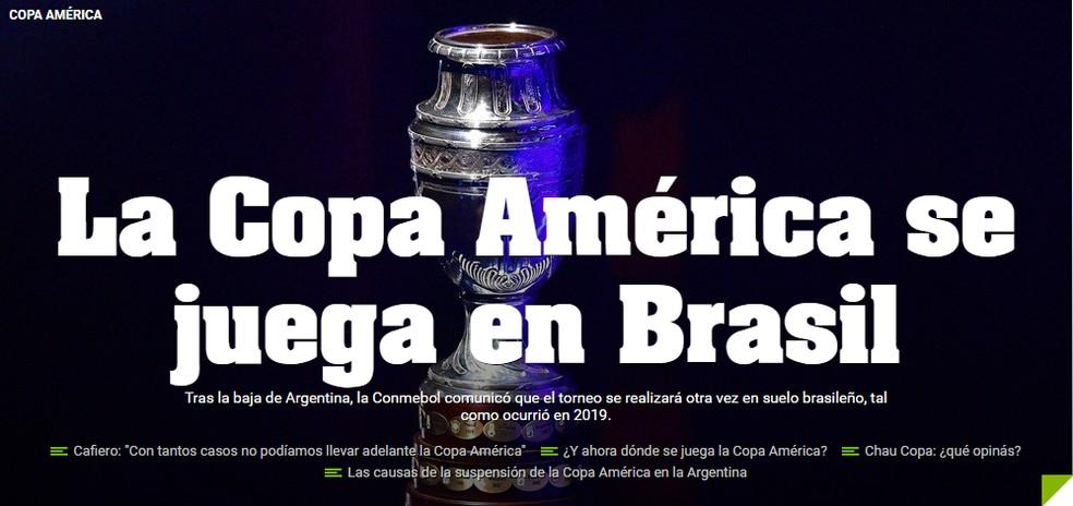 Diario Olé noticia a Copa América no Brasil — Foto: Reprodução