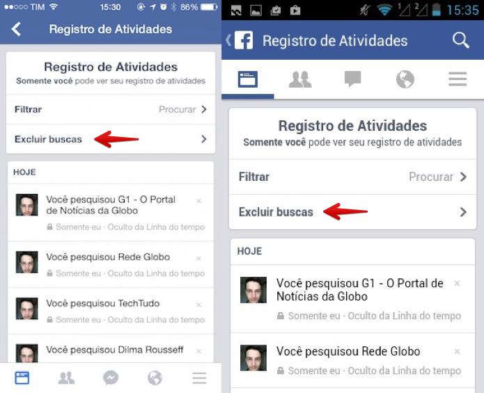 Excluindo o histórico de buscas do Facebook (Foto: Reprodução/Helito Bijora)