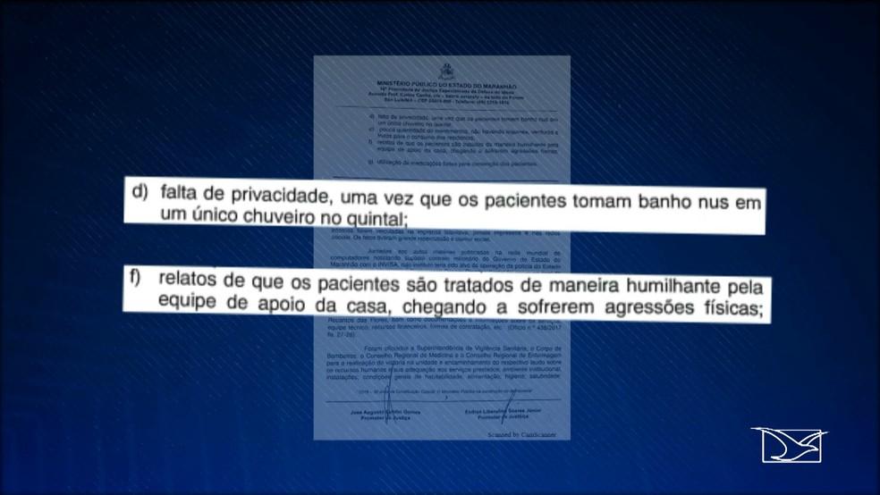 Relatório diz que os pacientes da residência são tratados de maneira humilhante (Foto: Reprodução/TV Mirante)