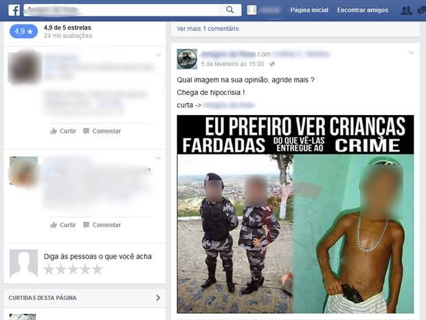 Montagem de foto postada em site informa que prefere ver crianças fardadas a vê-las no crime (Foto: Reprodução/Facebook)