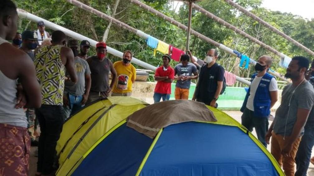Haitianos deixam Brasil em direção aos EUA atraídos por fake news de fronteira aberta por Biden — Foto: João Chavez/Defensor Público Federal/Via BBC