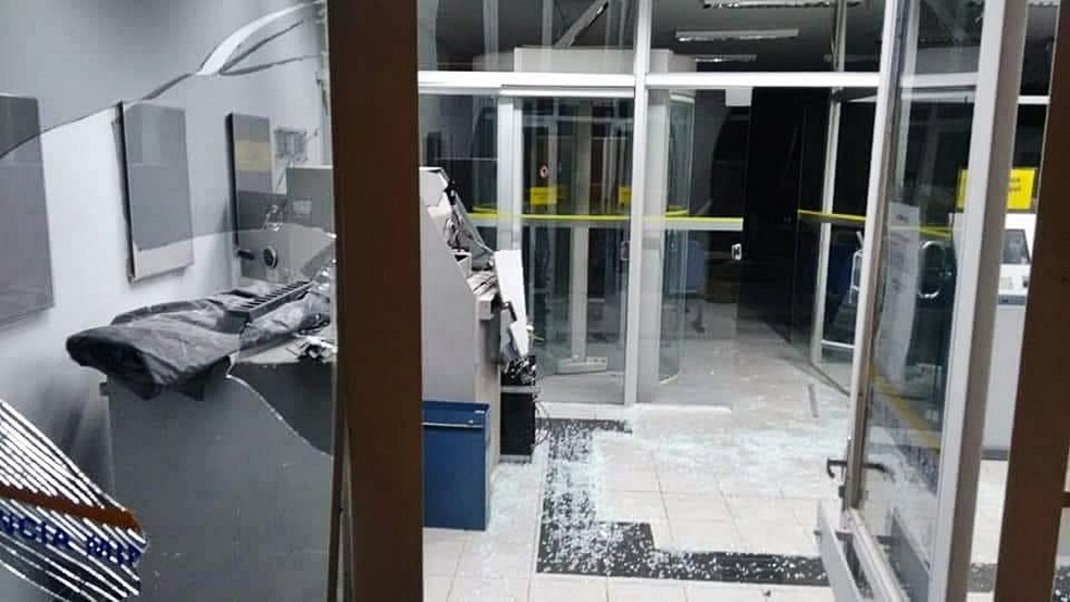 Agência em reforma foi destruída por explosão em Minduri (MG) (Foto: Reprodução/Redes Sociais)