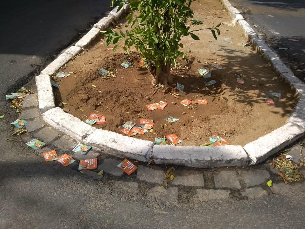 Voo da madrugada - pratica de jogar santinhos em frente a locais de votação - é proibida pela legislação eleitoral — Foto: Édipo Natan