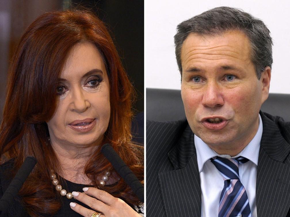 A presidente Cristina Kirchner e promotor Alberto Nisman, que morreu em janeiro — Foto: Juan Mabromata/AFP