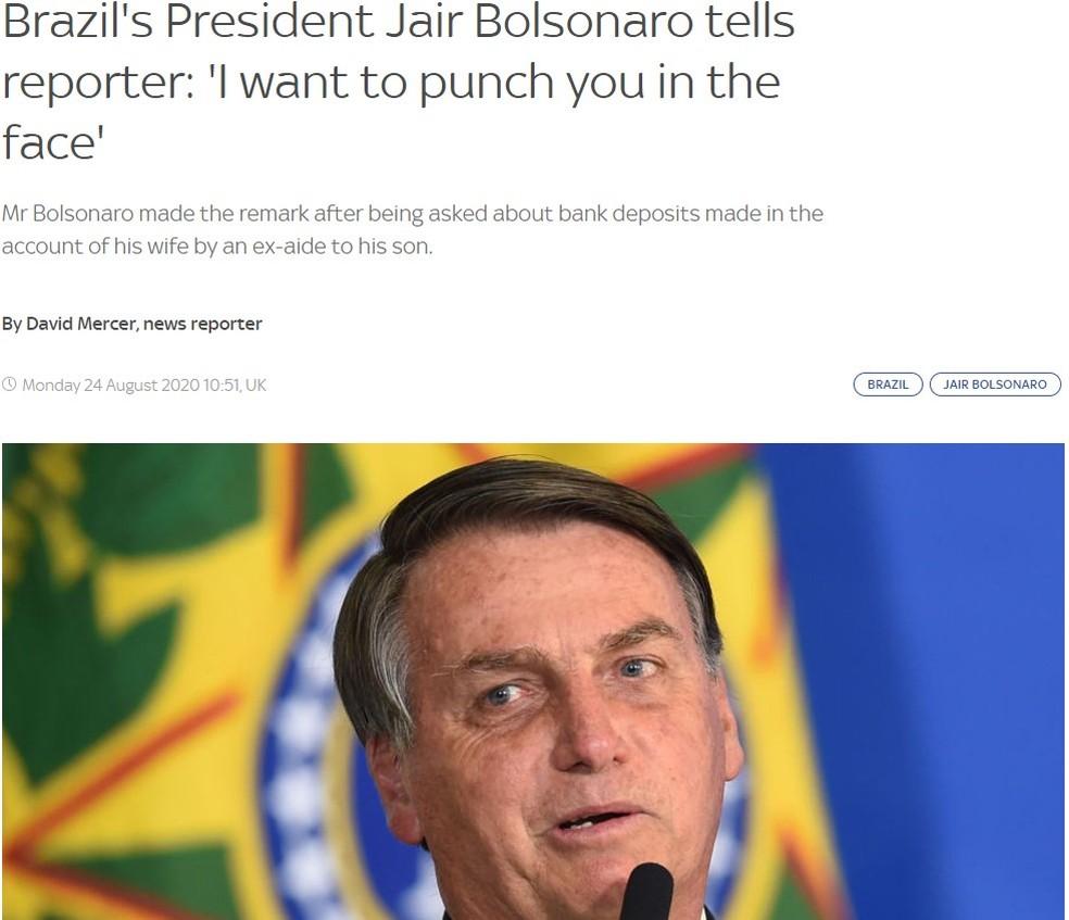 Reprodução de notícia da Sky TV sobre a ameaça de Bolsonaro a um repórter — Foto: Reprodução/Sky TV