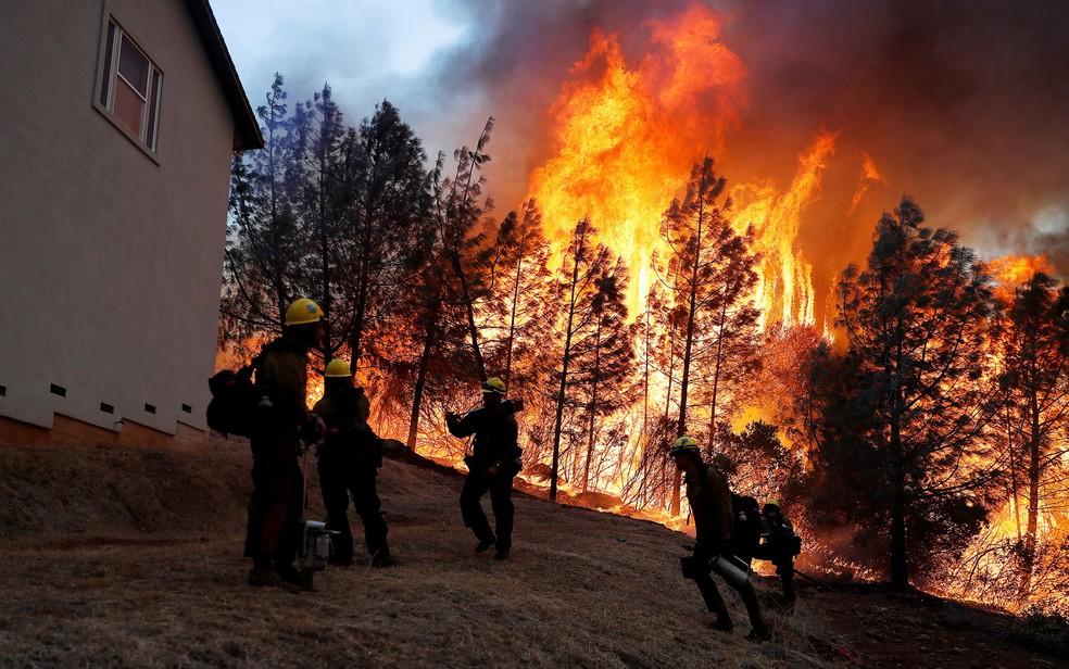 Grupo de bombeiros do Serviço Florestal dos EUA combatem incêndio Camp Fire, em Paradise, na Califórnia — Foto: Stephen Lam / Reuters