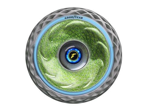 A Goodyear apresentou um novo pneu conceitual que promete não só extrair gás carbônico do ambiente como também liberar oxigênio (Foto: Divulgação)