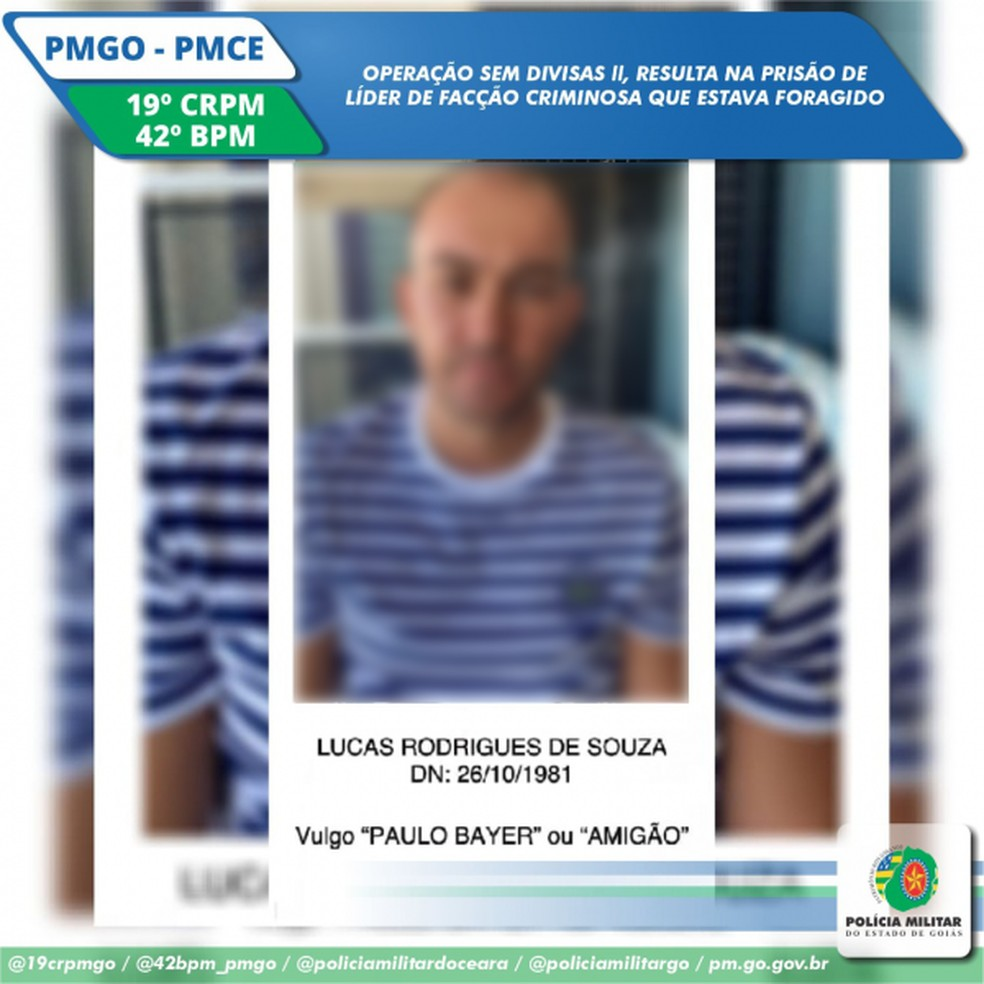 Lucas Rodrigues de Souza, 39 anos, foragido de Goiás, preso em Fortaleza — Foto: SSPDS/Divulgação