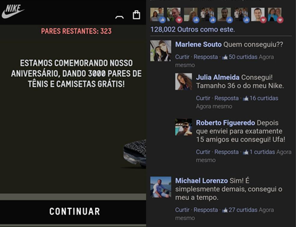 Página do golpe imita site da Nike e seção de comentários do Facebook — Foto: Reprodução/TechTudo