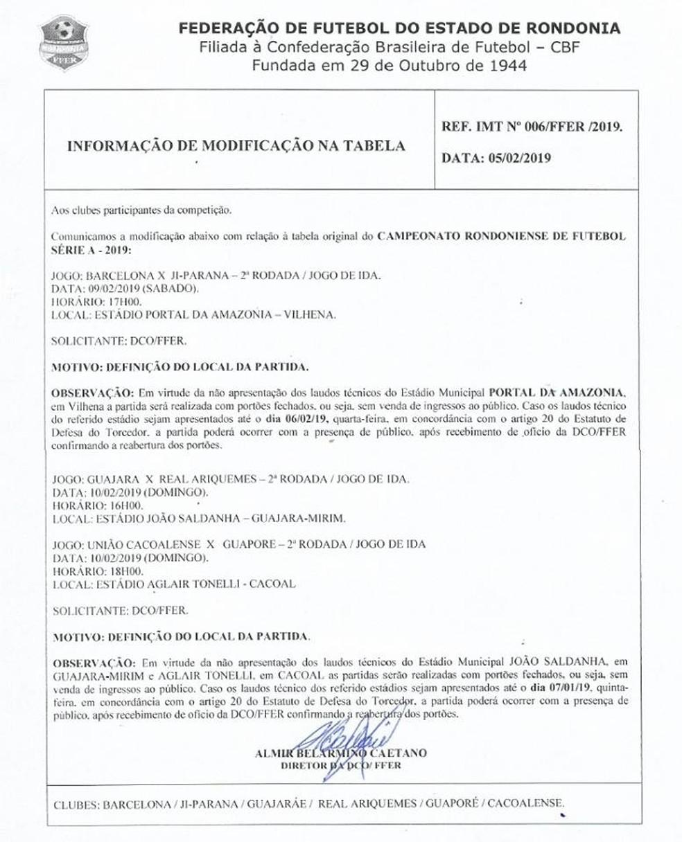 Federação de Futebol do Estado de Rondônia determina portões fechados em 3 jogos da 2ª rodada — Foto: FFER/ Reprodução