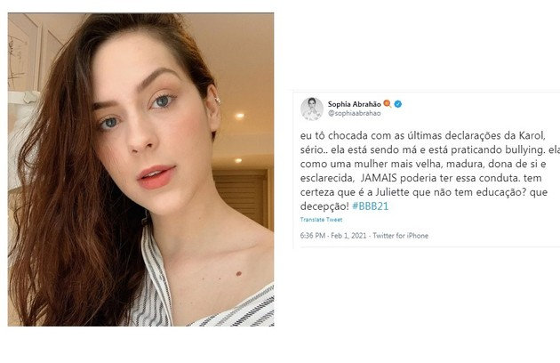 Sophia Abrahão reforçou que Conká tem praticado bullying e que o fato de ela ser esclarecida devia transformar seus atos (Foto: Reprodução)