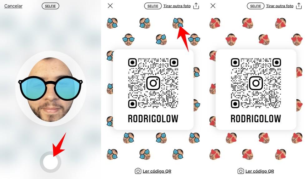 É possível usar selfies para ilustrar plano de fundo do QR Code — Foto: Reprodução/Rodrigo Fernandes