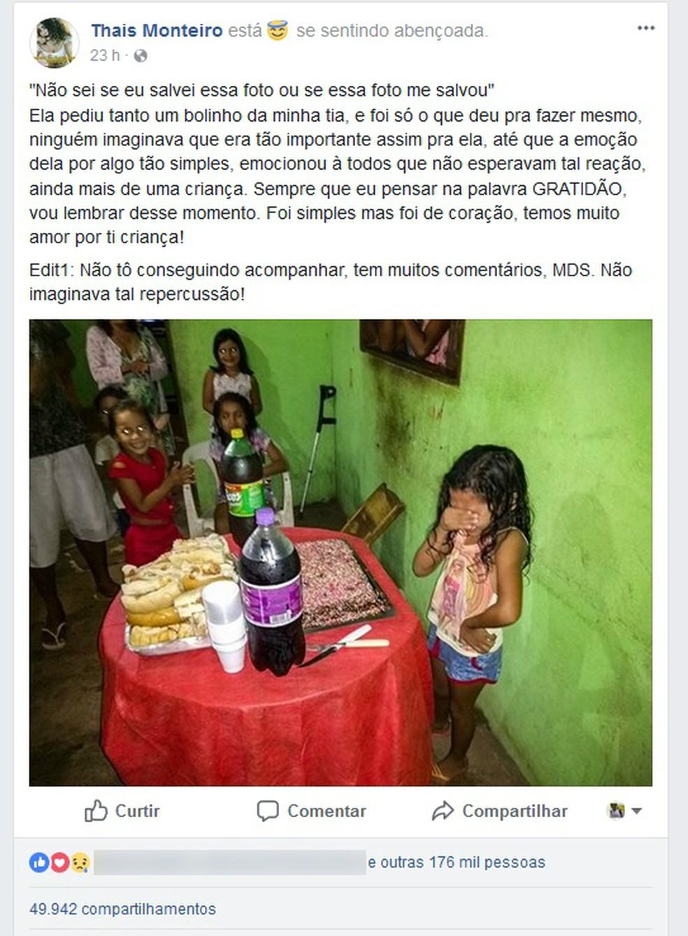 Aniversário da pequena Rinah Laís, de 7 anos, ganhou as redes sociais (Foto: Facebook/Reprodução)