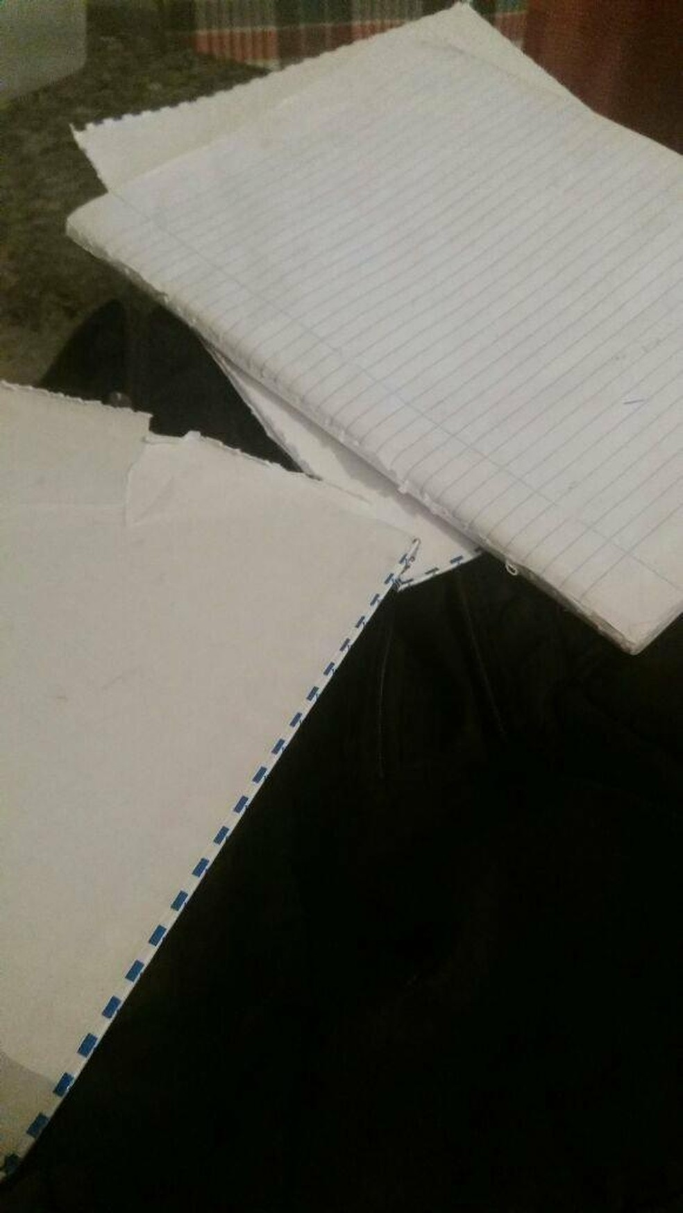 Aluno teve material rasgado pelos colegas em sala de aula em Juiz de Fora (Foto: Augusto Medeiros / G1)