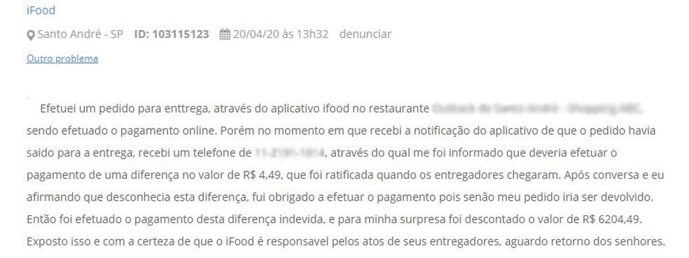 Usuário reclama de golpe aplicado por entregador do app iFood — Foto: Reprodução/Reclame Aqui