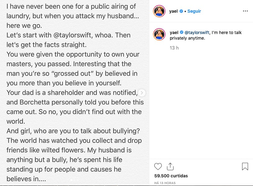 O post da esposa do empresário Scooter Braun questionando os ataques feitos por Taylor Swift (Foto: Instagram)
