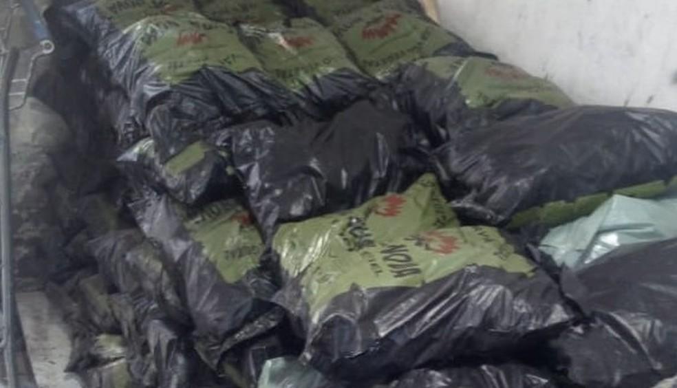 Carvão vegetal vendido ilegalmente foi apreendido durante operação em Glória do Goitá, na Zona da Mata Norte de Pernambuco — Foto: Polícia Militar/Divulgação