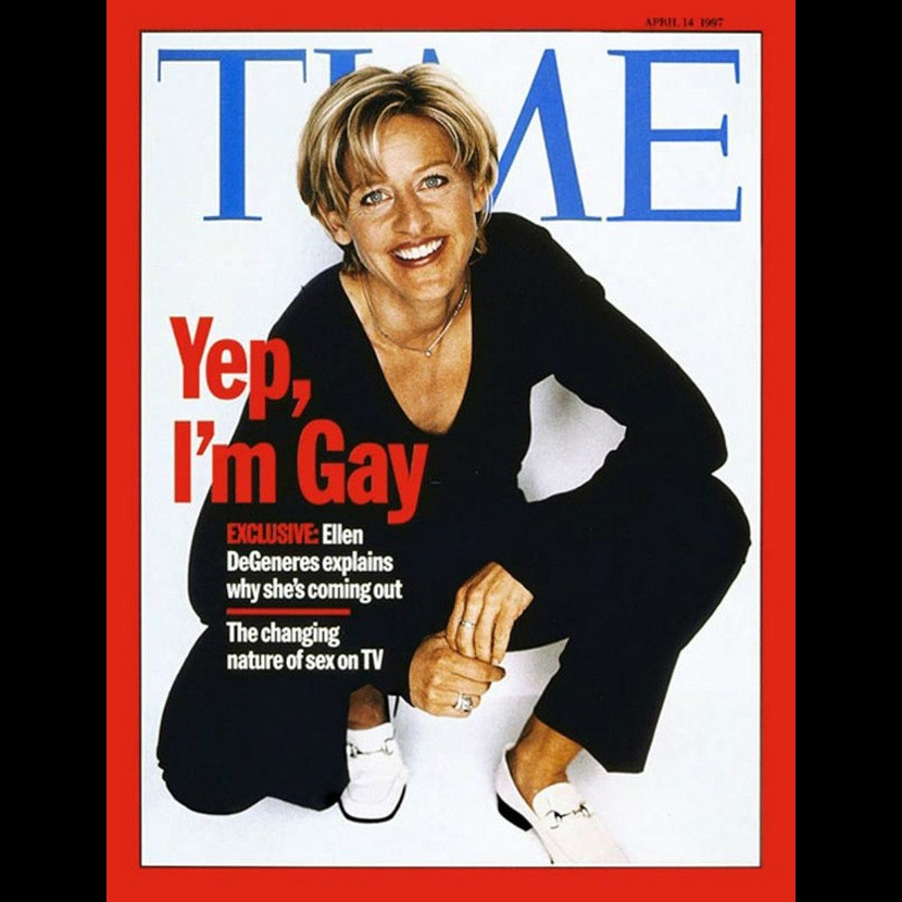 A atriz e apresentadora de televisão Ellen DeGeneres, hoje com 56 anos, se assumiu gay em uma capa histórica da revista 'Time' em abril de 1997. (Foto: Reprodução)
