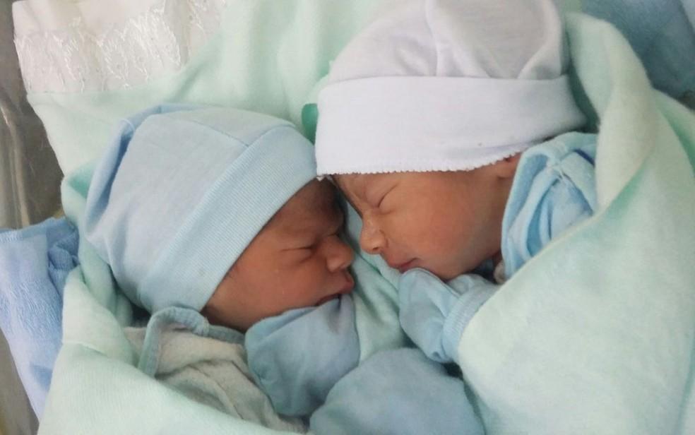 Afinidade entre irmãos surpreendeu a família e equipe médica do parto (Foto: Gescilene Lisboa/Arquivo Pessoal)