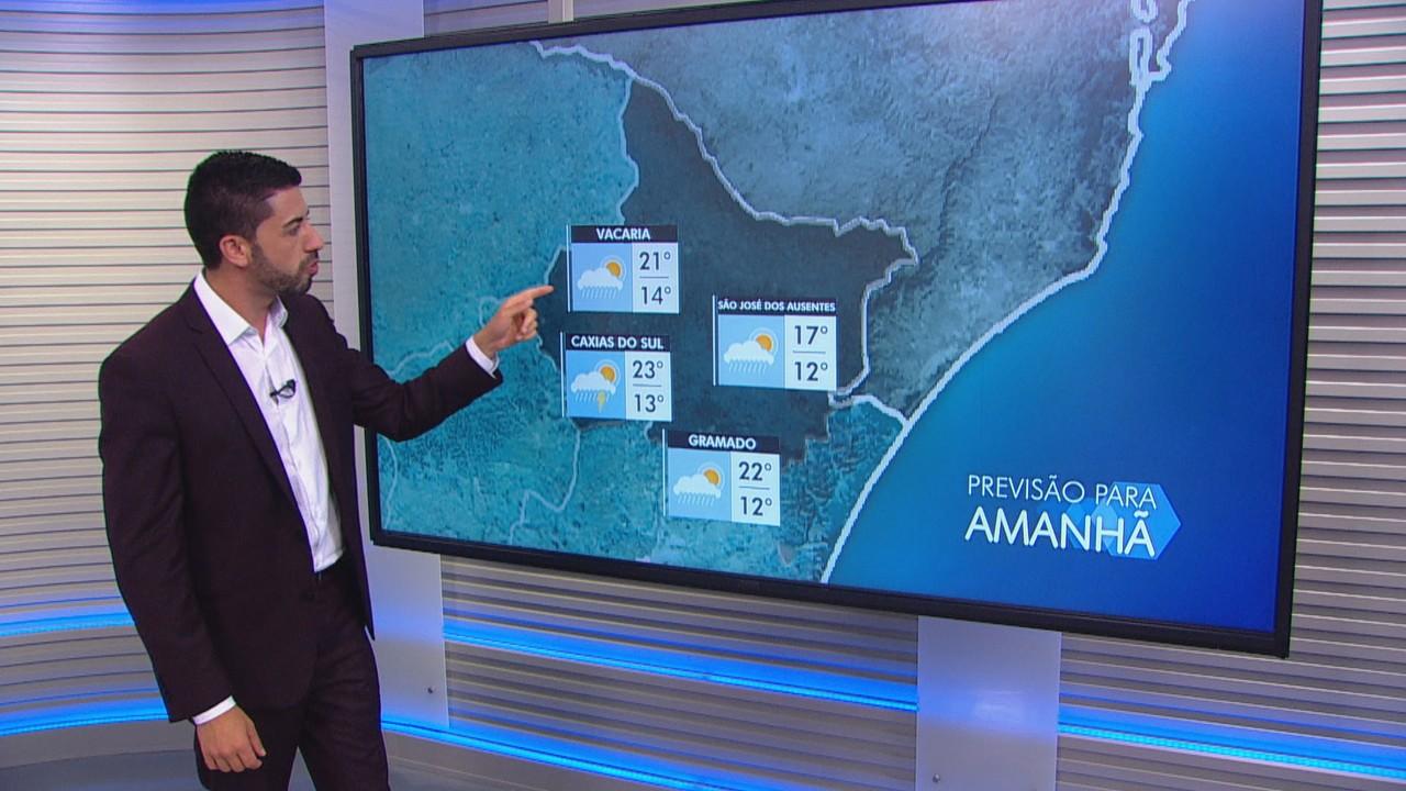 Quarta-feira (20) terá temperaturas amenas e chuva na maior parte do RS