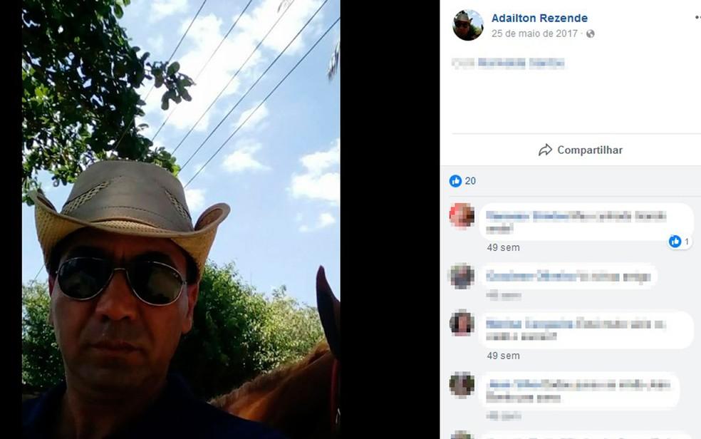 Adailton Rezende, de 45 anos, é apontado pela polícia como suspeito do crime (Foto: Reprodução / Facebook)