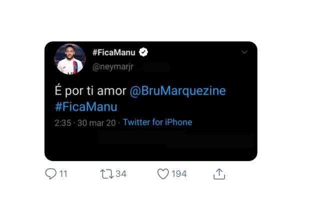No Twitter, o público apostou que Neymar mudou de ideia por causa da ex, Bruna Marquezine (Foto: Reprodução)