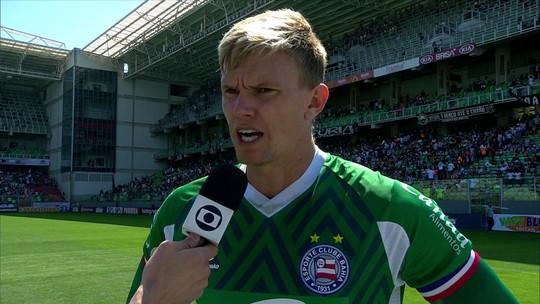 """Um dos principais jogadores da partida, Douglas comenta vitória do Bahia: """"O jogo coletivo foi muito forte"""""""