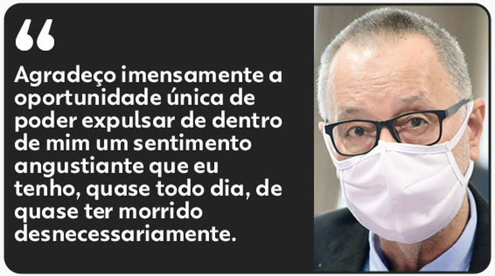 Tadeu se emocionou na CPI da Covid ao relatar período de internação em hospital da Prevent Senior — Foto: Agência Senado