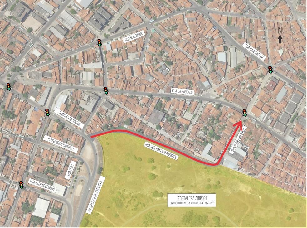 Mapa mostra nova via de acesso à Avenida Carlos Jereissati, em Fortaleza. — Foto: Divulgação