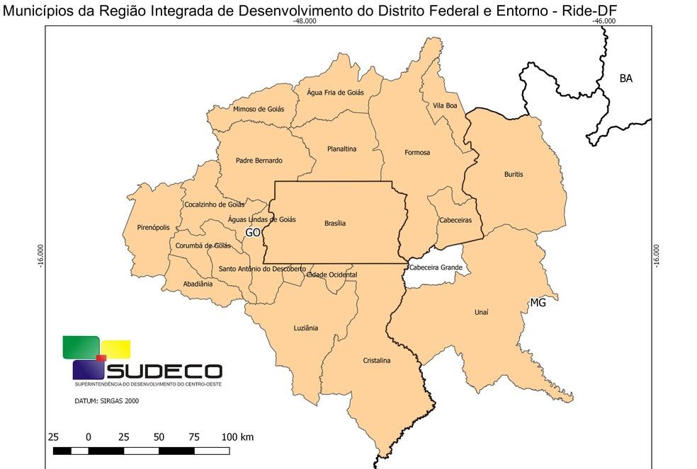 Mapa anterior da Região Integrada de Desenvolvimento do DF (Ride); lei inclui 12 municípios na sigla (Foto: Sudeco/Reprodução)