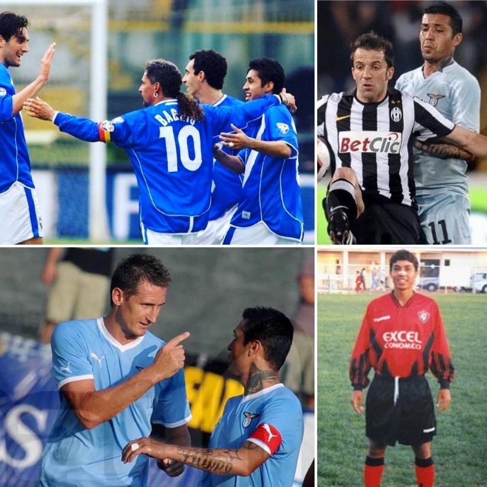 Na sequência: Matuzalém ao lado de Roberto Baggio no Brescia; marcando Del Piero; abaixo, ao lado de Klose, na Lazio; e registro do início da carreira no Vitória — Foto: Arquivo pessoal