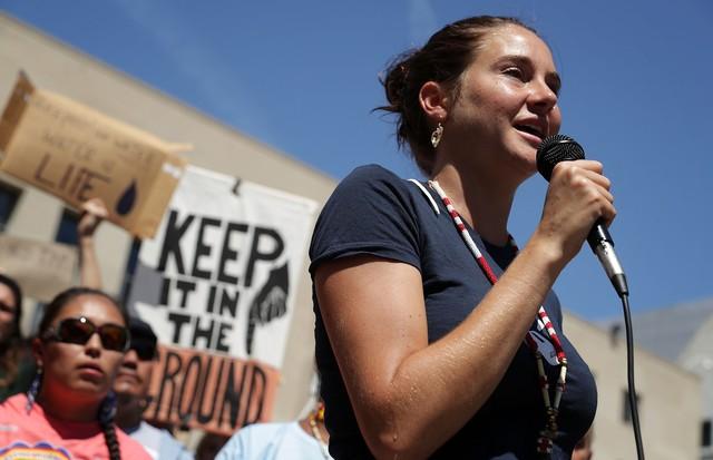 A atriz durante protesto nos Estados Unidos (Foto: Getty Images)