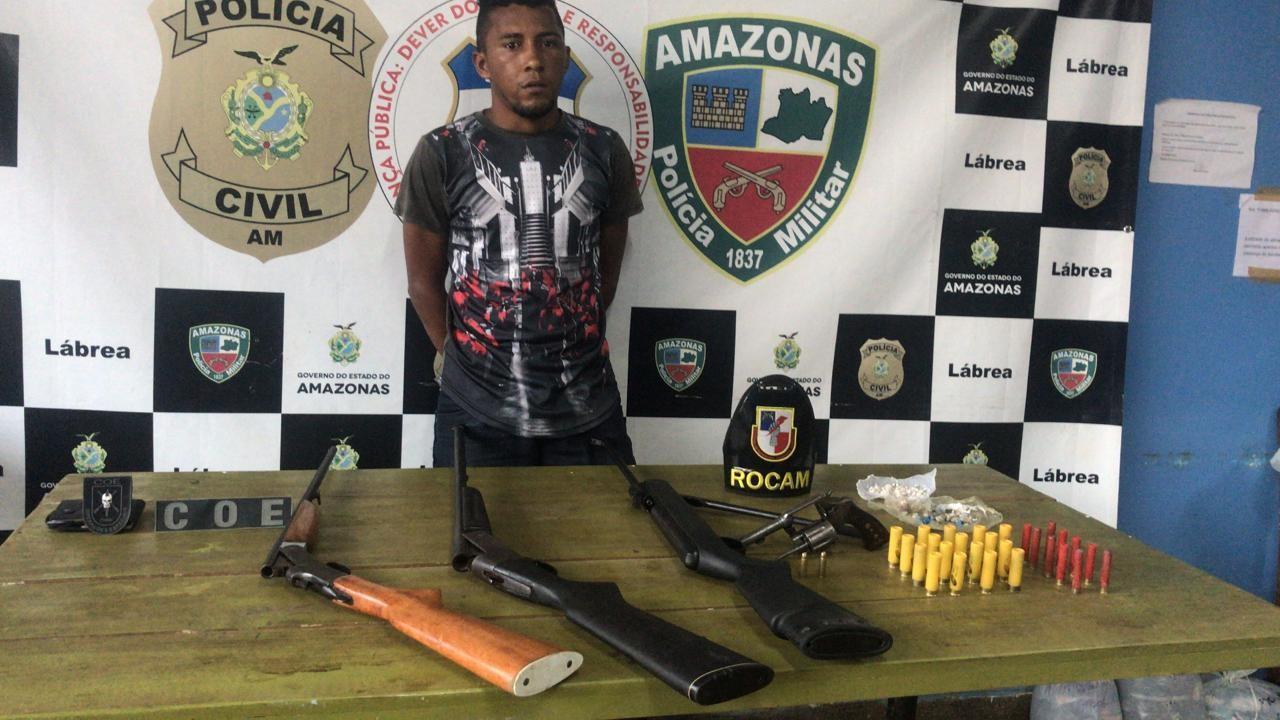 Homem é preso com armas, munições e drogas em Lábrea, no AM - Noticias