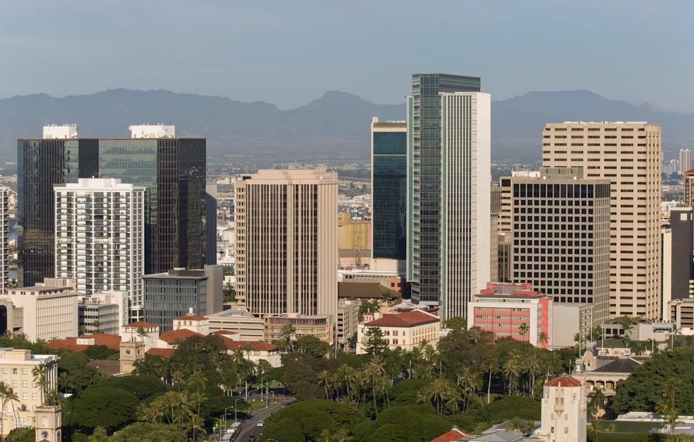 A cidade de Honolulu, no Havaí, neste sábado (13) após um alarme falso de míssil balístico (Foto: Eugene Tanner/AFP)