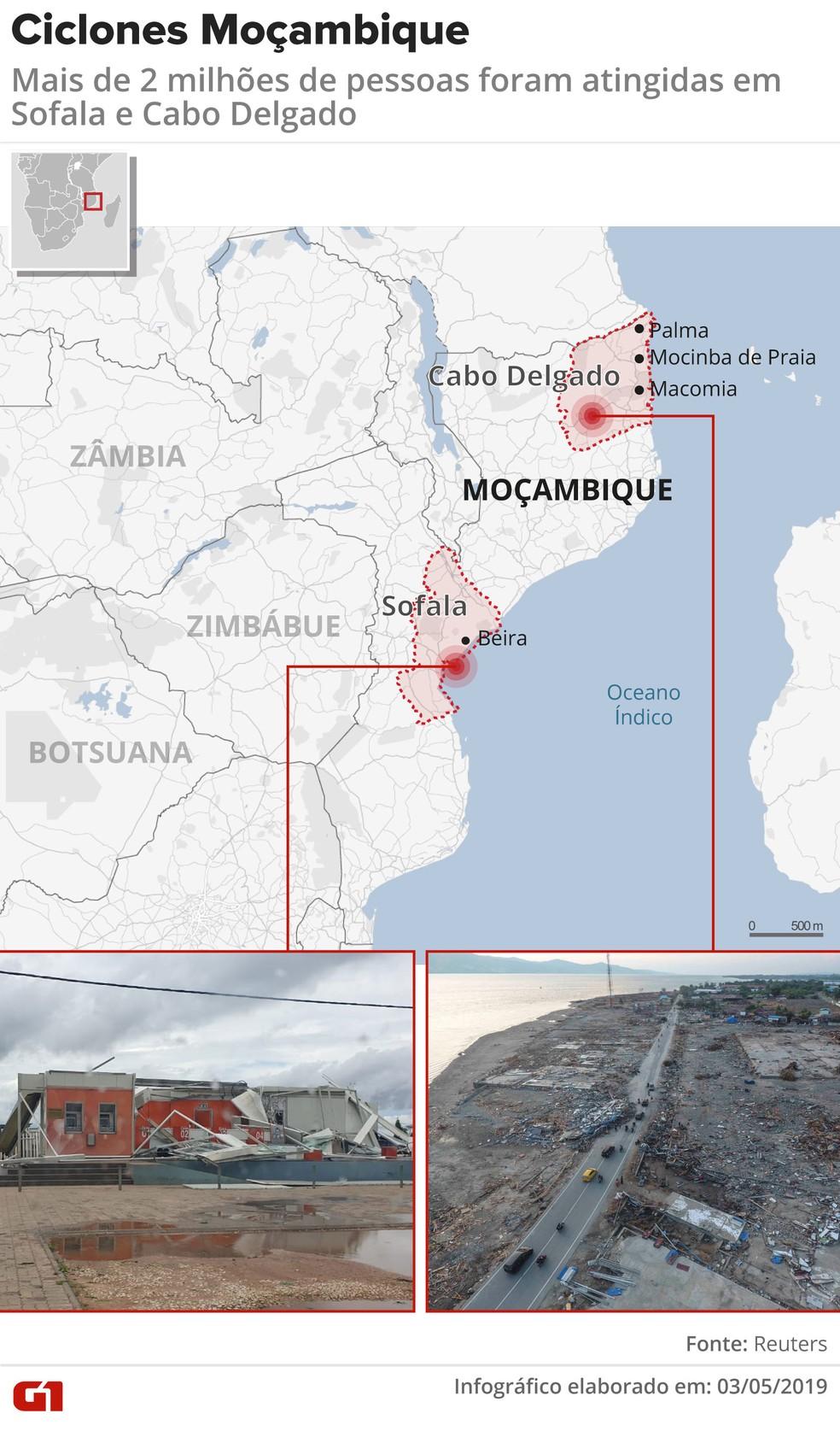 Dois ciclones atingiram Moçambique este ano — Foto: Infografia: Wagner Magalhães/G1