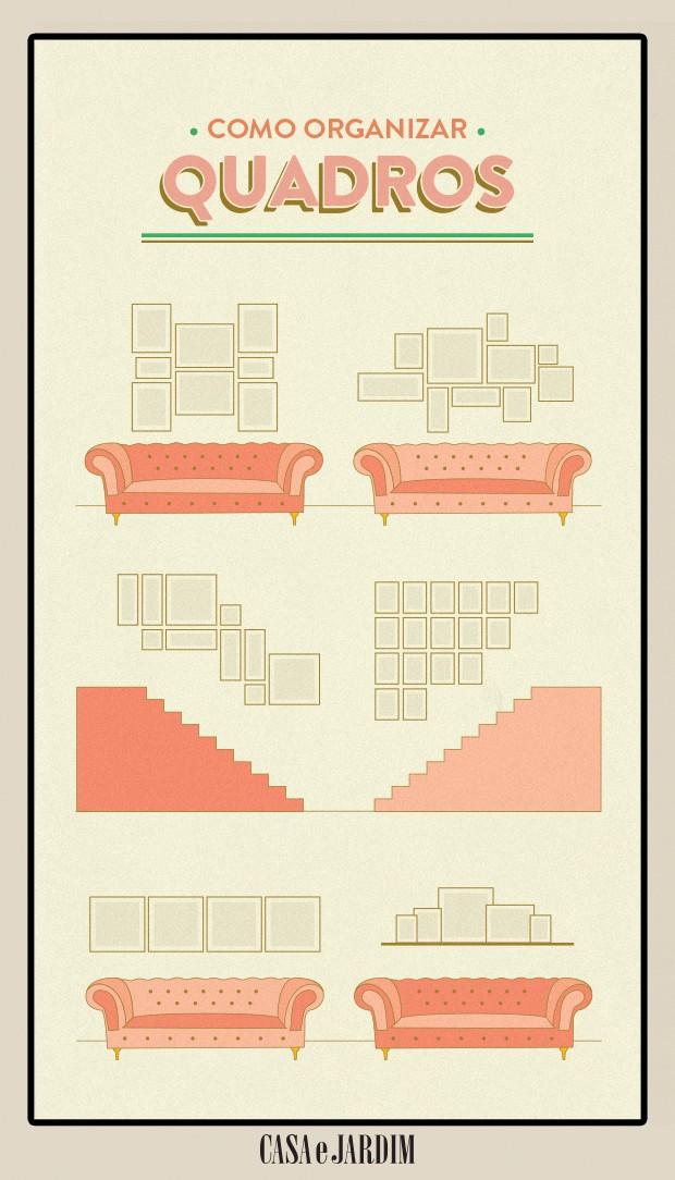 Diferentes ideias de como organizar quadros  (Foto: Victor Amirabile/Editora Globo)