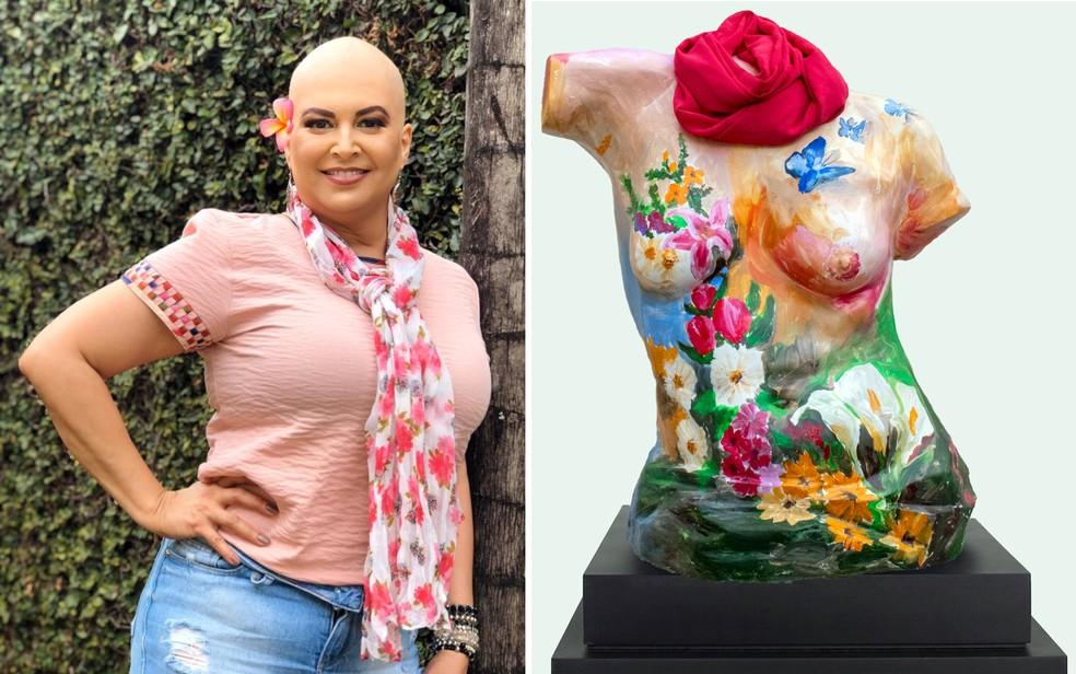 Cláudia Melo, que enfrenta câncer de mama, ganhou busto em homenagem à sua luta  — Foto: Marcella Cupaiuolo e Coletivo Pink/Reprodução