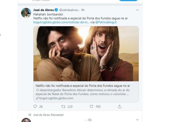 José de Abreu retuitou mensagem de uma seguidora que diz: 'A censura ao especial do Porta dos Fundos é tão absurda quanto o atentado à sua sede' (Foto: Reproduçãp/Twitter)
