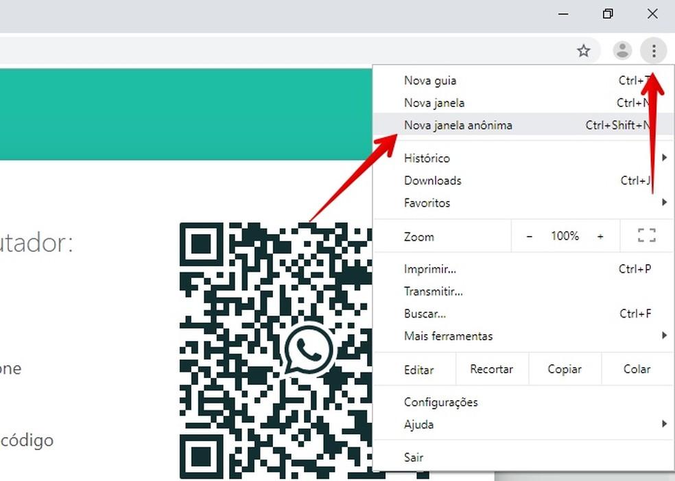 Use o WhatsApp Web no Chrome e na aba anônima — Foto: Reprodução/Helito Beggiora