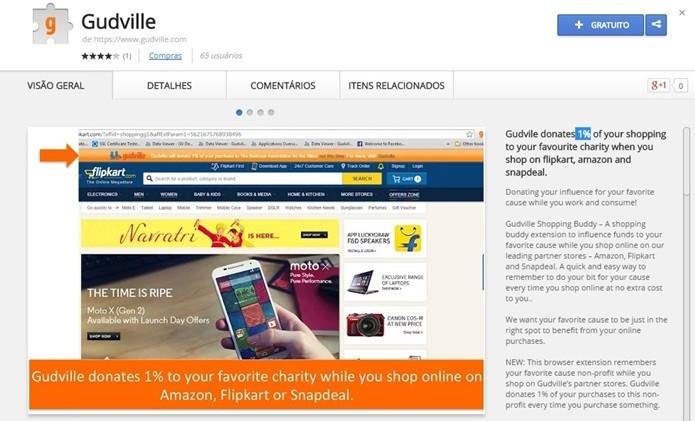 Gudville reverte 1% do valor das compras feitas na Amazon, Snapdeal e Flipkart para caridade (Foto: Reprodução/Chrome Web Store)